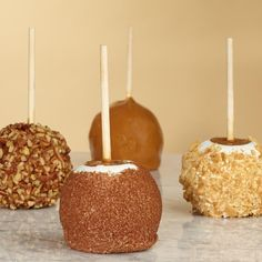 Perfect favours for a chocolate wedding -  chocolate dipped apples with nuts, cinnamon, m's, etc. then wrapped in clear plastic  www.bellabride.co.za