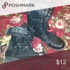 Gently worn boots with cable knit lining. Black boots with warm cable knit lining. Zipper in the back and lace up front. These can be worn high or folded down and snapped in place for a shorter boot look. So cute! Shoes Lace Up Boots