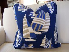 CUSTOM PIPING COLORS  Outdoor Pillow  Robert Allen Sailboat