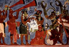 Hom-Tahs Maya trumpets of Bonampak. Hom-Tahs  (gourd trumpets, horns, megaphones, cornetas, bocinas or sacabuches) painted in the very well known North Wall mural, Room 1, Structure 1 at Bonampak, Chiapas, Mexico.