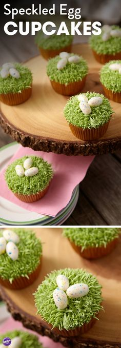 Speckled Egg Cupcakes - Even if kids come back from the Easter egg hunt with just a few eggs, you can have fun egg-topped cupcakes waiting for them! The decorating is easy, with pull-out icing grass using Tip 233 topped by Candy Clay eggs that are speckled with dazzling icing colors.