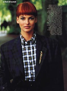 A Shot of Scotch I US Vogue I September 1991   Model: Linda Evangelista I Photographer: Arthur Elgort I Editor: Grace Coddington.