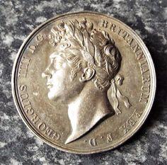 Antique King George IV 1821 Coronation Silver Medallion / Medal