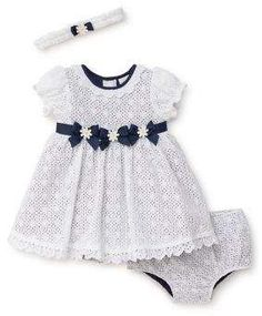 Little Me Baby Girl's Cotton Eyelet Three-Piece Dress, Headband and Bloomer Set - ShopStyle Baby Dress Design, Baby Girl Dress Patterns, Baby Clothes Patterns, Kids Dress Wear, Little Dresses, Little Girl Dresses, Baby Frocks Designs, Kids Frocks Design, Cute Outfits For Kids
