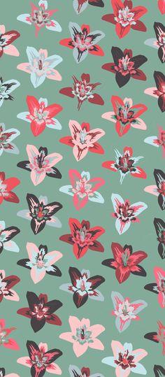 Russfussuk 'Lilium Punch' Pattern F2A #pattern #patterndesign #patternprint #floral #flowers #flowerprint #lilium #generative #cadernos #padrões