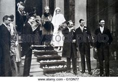 Photograph taken during the wedding of Maud of Wales (1869-1938) and King Haakon VII (1872-1957). Also pictured is King George V (1865-1936), Queen Elizabeth The Queen Mother (1900-2002), Alexandra of Denmark (1844-1925) and Queen Mary of Teck (1867-1953). Dated 20th Century - Stock Image