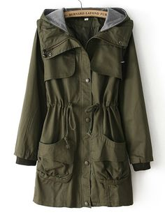 To find out about the Army Green Hooded Long Sleeve Drawstring Pockets Coat at SHEIN, part of our latest Outerwear ready to shop online today! Ladies Hooded Coats, Green Trench Coat, Gothic Lolita Fashion, Punk Fashion, Fashion Boots, Latest Street Fashion, Mode Hijab, Teen Fashion Outfits, Fashion Dresses