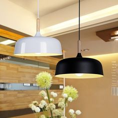 127.65$  Watch here - http://ali4z1.worldwells.pw/go.php?t=32759550777 - Europe brief creative wood aluminum single head pendent lamp White/black aluminum dining room decoration lights A202 127.65$