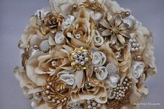 Champagne Rose Jeweled Flower Bouquet by Blue Petyl #wedding #bouquet