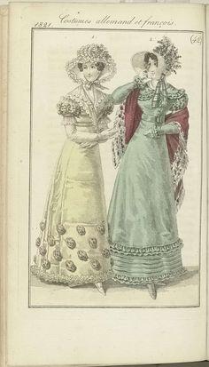 Anonymous | Journal des Dames et des Modes, editie Frankfurt 14 octobre 1821, Costumes allemand et françois (42), Anonymous, J.P. Lemaire, 1821 | De begeleidende tekst (p. 439) vermeldt: Weense mode. Fig. 1: Hoed van crêpe, versierd met 'Blonde' (kloskant) en met bloemen. Japon van 'Alexandrine', aan de onderkant gegarneerd met bouilllons van gaze. Mouwen en omslagdoekje afgezet met Blonde. Fichu van Blonde. Witte handschoenen. Witte schoenen. Frans kostuum. Fig. 2: Witte strohoed versierd…
