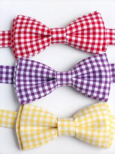 Colorful gingham bow ties