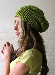 Spring Green Chunkier Hat by ileaiye on Etsy, $25.00-- Wished I look good in those. :|