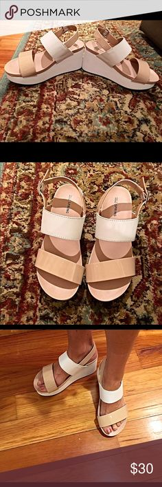 New! White and taupe platform sandals! Super cute- right on trend- buckle closure- broad straps- extra comfort! Shoes Sandals