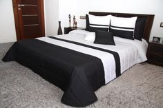 Pikowane narzuty luksusowe na łóżko w kolorze biało czarnym