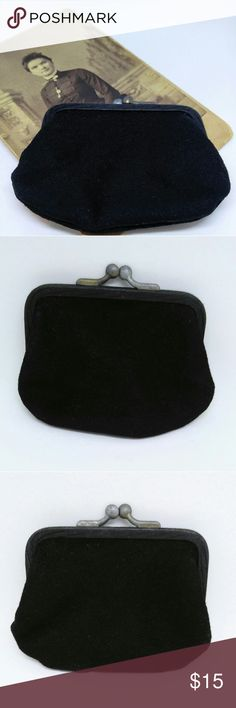 ANTIQUE Coin/Change Purse-Black-Kiss Closure Very nice condition, antique little coin purse.  Black fabric with metal flat style kiss clasp. Satin type material inside. Good condition for its age.  Really not worth mentioning, but to be thorough there is a tiny fabric wear on the trim and a tiny bit of tarnish/metal color change on the clasp.  The pics have exaggerated this a lot.  Neither of these things are noticeable.  It truly looks great!  It opens and closes nicely. This piece measures…