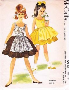 McCall's vintage sewing pattern  5913 little girls dresses designed by Helen Lee © 1961.