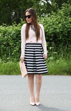 a-line striped skirt with pink sweater