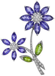 15.00ct Amethyst 2.00ct Peridot 0.80ct Diamond Flower Pin