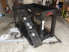 Pallet wood dog bunk bed