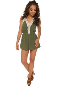 I love this!  Love Quest Lace Romper - Olive