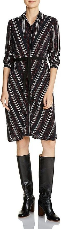 Maje Regga Stripe-and-Lettering Print Shirt Dress