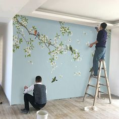 Birds and Flowers Wallpaper Wall Mural Floral Wall ArtWall Decal Blue Floral Wall Sticke Wall Painting Decor, Wall Art, Tree Wall Murals, Ceiling Murals, Interior Wall Painting Designs, Bedroom Wall, Bedroom Decor, Bedroom Murals, Bedroom Sets