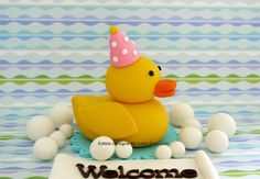 Edible Fondant Baby Shower Cake Toppers - Rubber Duck in bubble bath for girl