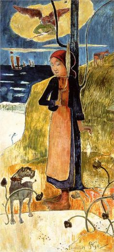 Jeanne d'Arc, or Breton girl spinning, 1889, fresco on wood, 134 x 62.9 cm.  Van Gogh Museum, Amsterdam, Netherlands. Cloisonnism, Breton period, Paul Gauguin (1848-1903).