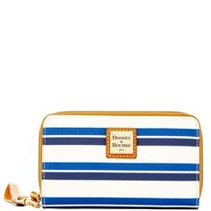 Dooney & Bourke | Stonington Zip Around Phone Wristlet | The Stonington Collection updates some our most popular styles with a refreshing cabana stripe print on coated cotton.