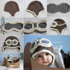 Crochet DIY Aviator Hat hat diy crochet diy crafts do it yourself kids hat Bonnet Crochet, Crochet Diy, Crochet Baby Hats, Crochet Beanie, Crochet For Kids, Crochet Crafts, Crochet Clothes, Baby Knitting, Crochet Projects