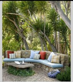 A backyard patio - Outside living space Outdoor Seating, Outdoor Rooms, Outdoor Gardens, Outdoor Living, Outdoor Decor, Backyard Seating, Garden Seating, Patio Bench, Outdoor Couch