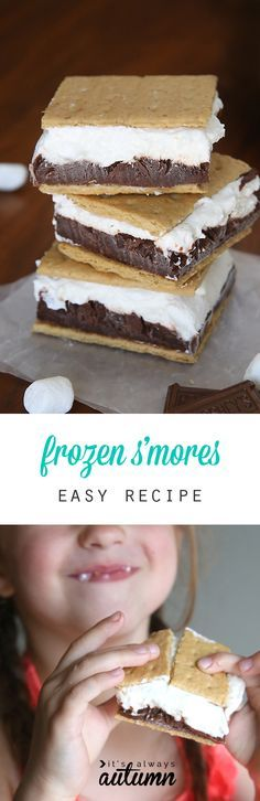Frozen s'mores! Layers of chocolate pudding and marshmallow cheesecake sandwiched between graham crackers and frozen for the perfect summer treat. Super easy recipe!(Cool Summer Treats)