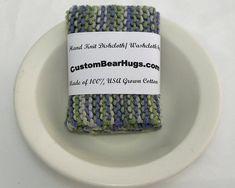 Large Dishcloth/ Washcloth Hand Knit 100% cotton by CustomBearHugs