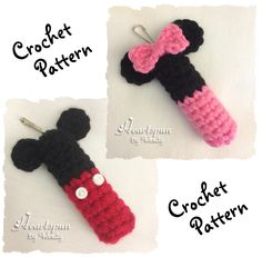 Ravelry: Mickey Mouse and Minnie Mouse Lip Balm Holder pattern by Wendy Connor Crochet Mickey Mouse, Cute Mickey Mouse, Crochet Disney, Chapstick Lip Balm, Eos Lip Balm, Chapstick Holder, Crochet Gifts, Hand Crochet, Crochet Car