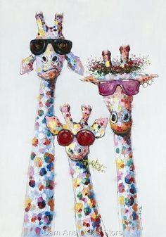 Giraffe Stretched Canvas Colourful Print Picture Wall Art 100 cm x Animal Paintings, Animal Drawings, Cute Drawings, Giraffe Painting, Giraffe Art, Images Pop Art, Arte Judaica, Tableau Pop Art, Art Fantaisiste