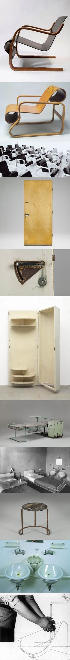 1929-1933 Alvar & Aino Aalto - furniture for the Paimio Sanatorium / model 31 chair / model 41 lounge chair / door & doorhandle 8283 / cabinet 8462 / sidetable, bed & locker / hall stool 8282 all by Huonekalu-ja Rakennustyötehdas Oy / Arabia 8281 hand bassin & Karhula 8505 spittoon / Finland / birch steel
