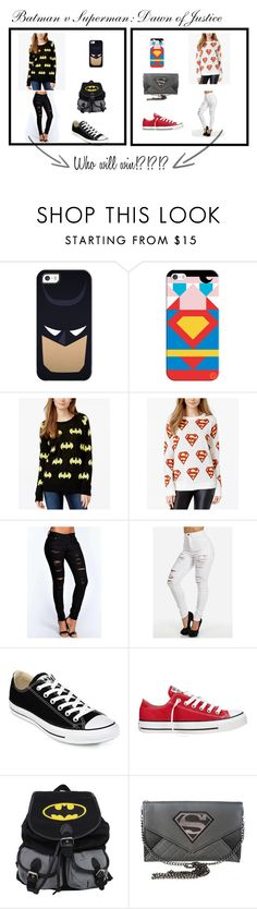 """""""Batman v Superman outfit"""" by cflores4401 on Polyvore featuring Casetify, Bioworld, Boohoo, Converse, women's clothing, women's fashion, women, female, woman and misses"""