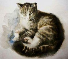 Кошечка акварелью