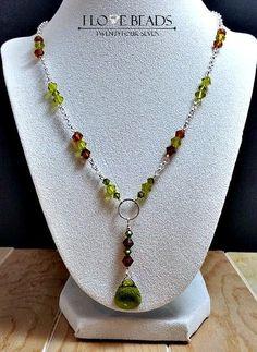 swarovski crystal necklace-swarovski topaz and green crystal necklace-silver crystal necklace-silver necklace-Y necklace-gifts for her
