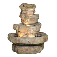 Alpine Rock Fountain w/ Halogen Lights - Home & Garden Fountains - Fountains & Statuary