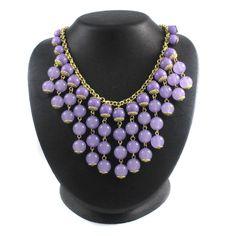 "qvc Robert Rose Gold Tone Lilac Bead Drop 17.5"" Bib Necklace 075L #RobertRose #Bib"