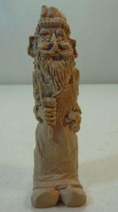 Christmas-Santa-Elf-Figure-Clay-or-Resin-Light-Color-Wood-Look-Textured-Finish