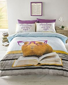 #BEDDING GERALDINE GUINEA PIG READING IS DREAMING DOUBLE DUVET COVER