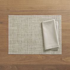 Chilewich ® Crepe Neutral Vinyl Placemat and Fete Dove Cotton Napkin | Crate and Barrel