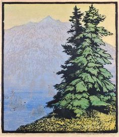 Heights Beyond, 1928 by Frances Hammell Gearhart (b. 1869-1958), Californian artist (occasionally taught by Charles H. Woodbury) known for her colour woodcuts of the Sierras, the Pacific Coast, and the area around Big Bear Lake. She described sentinel trees, groves of eucalyptus, pines, oaks and Monterey cypress as well as valleys and canyons. http://www.francesgearhart.com/ Tags: Helen Elstone, Mountain, Distance, Trees, Pines