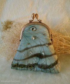 ❥ Painted silk butterfly purse