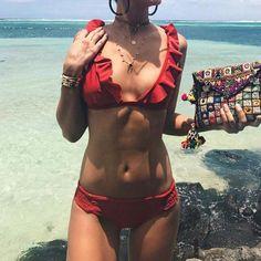 Red Ruffled Bikini