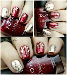 nail, nail art, holiday nail art, nail art for nubs, nail art for short nails, gold, red