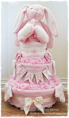 Pink diaper cake - Rosa bleiekake, Ragnhild Kleiven, hobbykrokenmiin