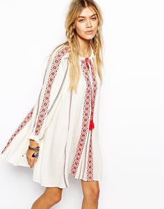 ASOS Swing Dress With Long Sleeves And Embroidery